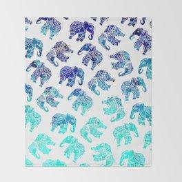 Boho turquoise blue ombre watercolor hand drawn mandala elephants pattern Throw Blanket