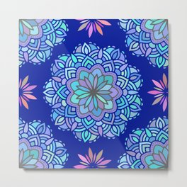 Heart mandala Pattern on Dark Blue Background Metal Print