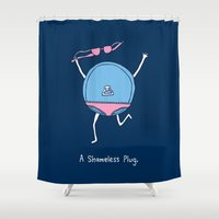 shameless Shower Curtains featuring A Shameless Plug by Record Makers