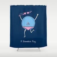 shameless Shower Curtains featuring A Shameless Plug by Visual World