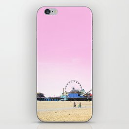 Santa Monica Pier with Ferries Wheel and Roller Coaster Against a Pink Sky iPhone Skin