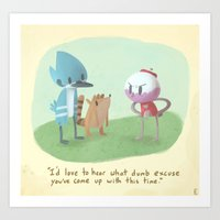 regular show Art Prints featuring Regular show Golden books by Smellen
