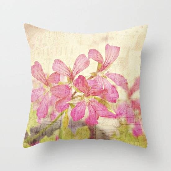 Vintage Whimsical Watermelon Pink Summer Geraniums in the City Montage Collage _  très chic Throw Pillow
