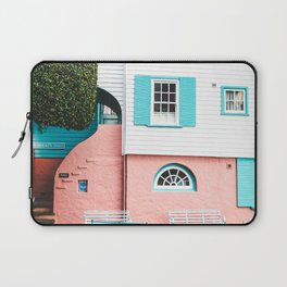 TEAL AND GRAY TABLE AND BENCH BESIDE WHITE AND ORANGE HOUSE Laptop Sleeve