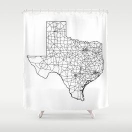 Texas White Map Shower Curtain