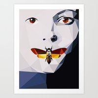 silence of the lambs Art Prints featuring Silence of the Lambs - Low Poly by Camilo