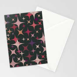 Purple, Red, Pink and White Stars in Dark Green Stationery Cards
