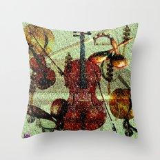 Mint Strings Throw Pillow