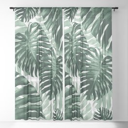 Tropical Monstera Jungle Leaves Pattern #1 #tropical #decor #art #society6 Sheer Curtain