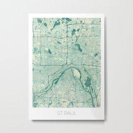 St Paul Map Blue Vintage Metal Print