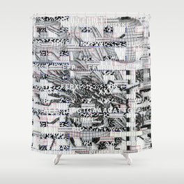 Surrender Your Information (P/D3 Glitch Collage Studies) Shower Curtain