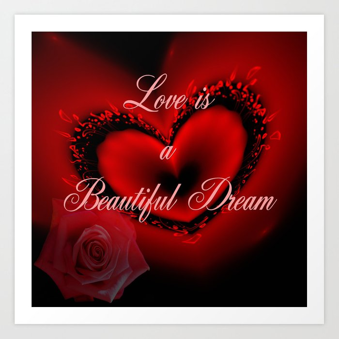 Romantic Red Heart Rose And Text Design Art Print By Walstraasart