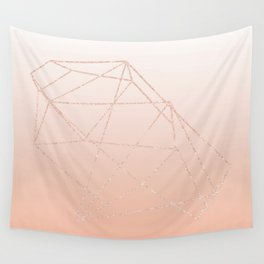 peach ombre with rose gold geometric pattern Wall Tapestry