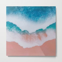Beautiful ocean waves made by epoxy resin on canvas Metal Print