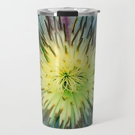 Aqua-Blue Flower With Lilac Accents Travel Mug