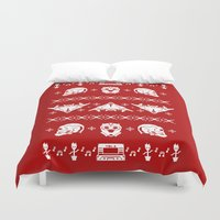 starlord Duvet Covers featuring Merry Christmas A-Holes by Perdita