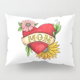 Mom Heart Tattoo Watecolor with Flowers Pillow Sham