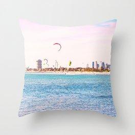 Windsurfing at St Kilda Throw Pillow