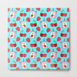 Cute funny sweet boxes of yummy flavored milk, little cherries and red ripe summer strawberries cartoon fantasy pastel blue pattern design Metal Print