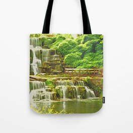 Backyard Paradise | Landscaping Cascade Waterfall - Oil Painting Canvas Tote Bag