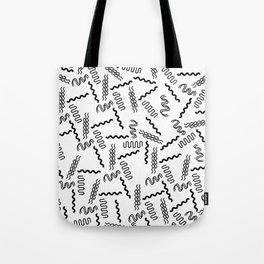Abstract black white geometrical retro 80's pattern Tote Bag