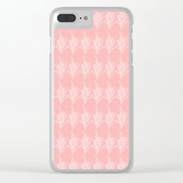 Sage Brush_Peach-White_Traditional Fabric Clear iPhone Case