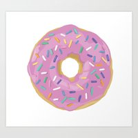 donut Art Prints featuring Donut by Sian Murray Art