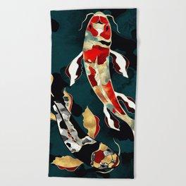 Metallic Koi Beach Towel