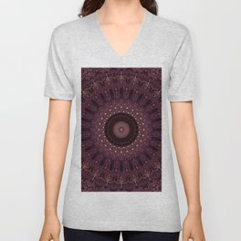 Mandala in dark purple and golden colors Unisex V-Neck