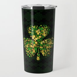 Decorative Irish Shamrock -Clover Gold and Green Travel Mug