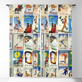 Vintage Skiing Posters Blackout Curtain
