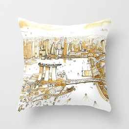 Marina Bay with Coffee Throw Pillow
