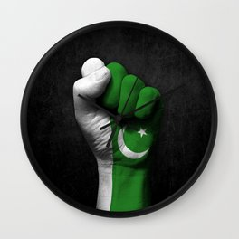 Pakistani Flag on a Raised Clenched Fist Wall Clock