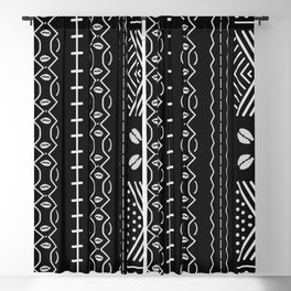 Black mudcloth with shells Blackout Curtain