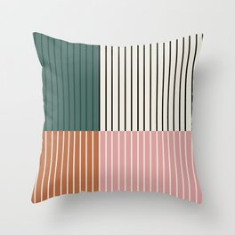 Color Block Line Abstract V Throw Pillow