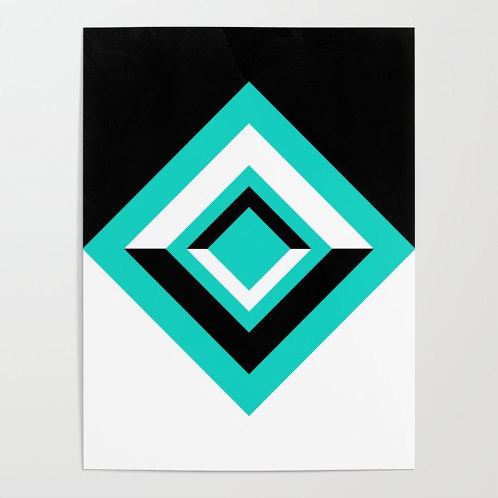 Teal Black and White Diamond Shapes Digital Illustration - Artwork Poster