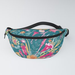 Blossom Pop - Watercolor Floral Pattern / Colorful Florals Dark Fanny Pack