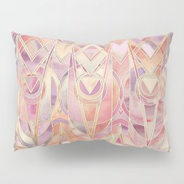 Glowing Coral and Amethyst Art Deco Pattern Pillow Sham