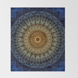 Mandala in blue and amber tones Throw Blanket
