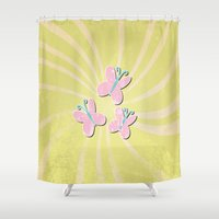 my little pony Shower Curtains featuring my grunge little pony.. fluttershy by studiomarshallarts