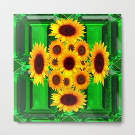 SPRING GREEN EMERALDS & YELLOW FLOWERS  ART Metal Print