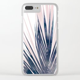 Contemporary Palm Leaf in Navy Blue and Blush Pink Clear iPhone Case