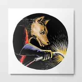 Wolf Welder Welding Woodcut Metal Print