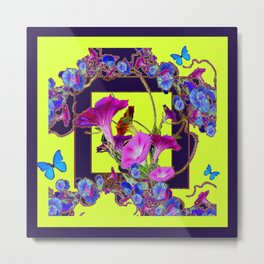 Purple Morning Glories Butterfly Patterns Chartreuse Art Metal Print