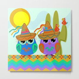 Cute Owls with Sombrero hats and Parrots Metal Print