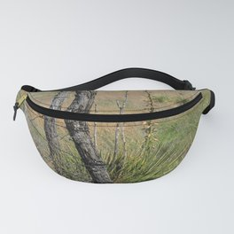 Wooden Fence Corner Post with Yellow wild flowers Fanny Pack