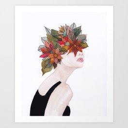 Woman in flowers, watercolor 2 Art Print