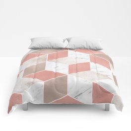 Summer peach marble geometry Comforters