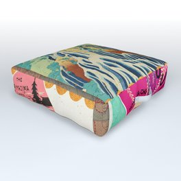 Label Fables, Japan I :: Fine Art Collage Outdoor Floor Cushion
