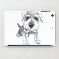 schnauzer iPad Cases featuring Schnozz the Schnauzer by Beth Thompson